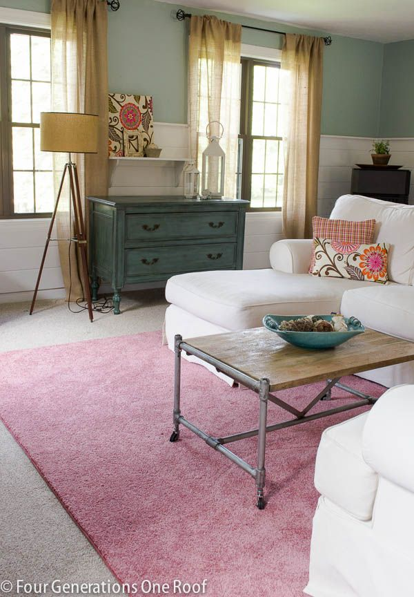 Decorating with a pink rug + pink DIY accents + rug giveaway @Mandy Bryant Dewey Generations One Roof