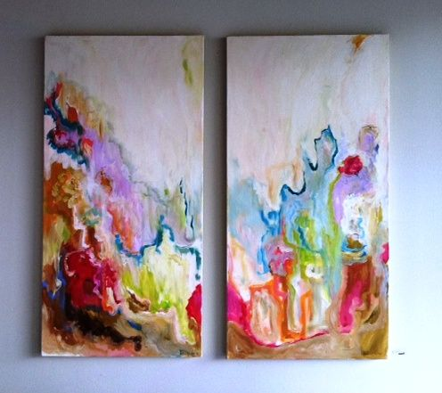 Paintings by Rebecca Casa. Love the colors.Atlanta Artists, Beautiful Painting, Inspiration, Abstract Art, Watery Colors, Blank Canvases, Rebecca Cabassa Gramercy, Beautiful Artworks, Bright Colors
