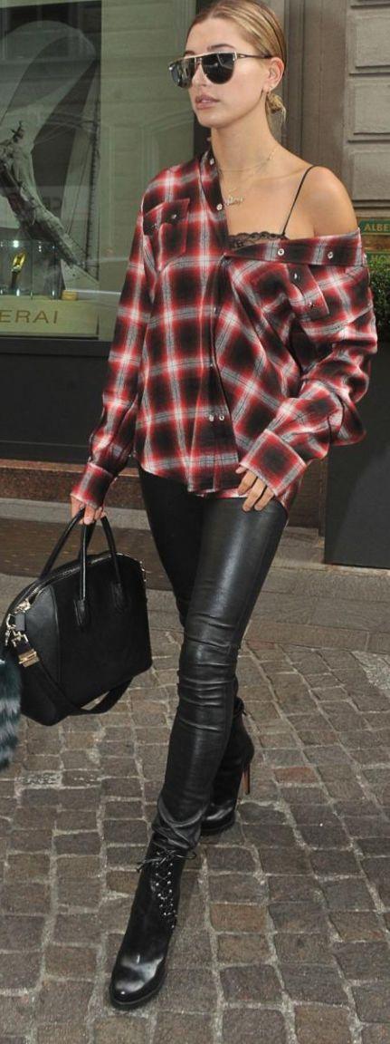 Hailey Baldwin wearing Saint Laurent, Givenchy, Alaia and J Brand