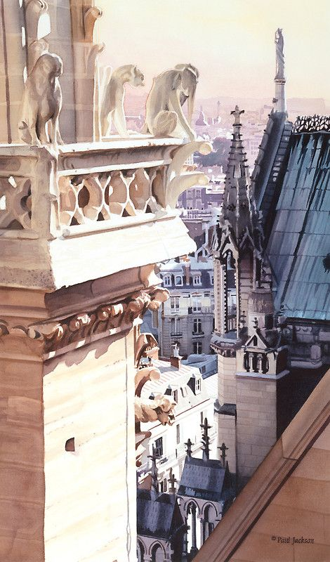 """""Aspire"" Cathedral of Notre Dame Watercolor"" by Paul Jackson 