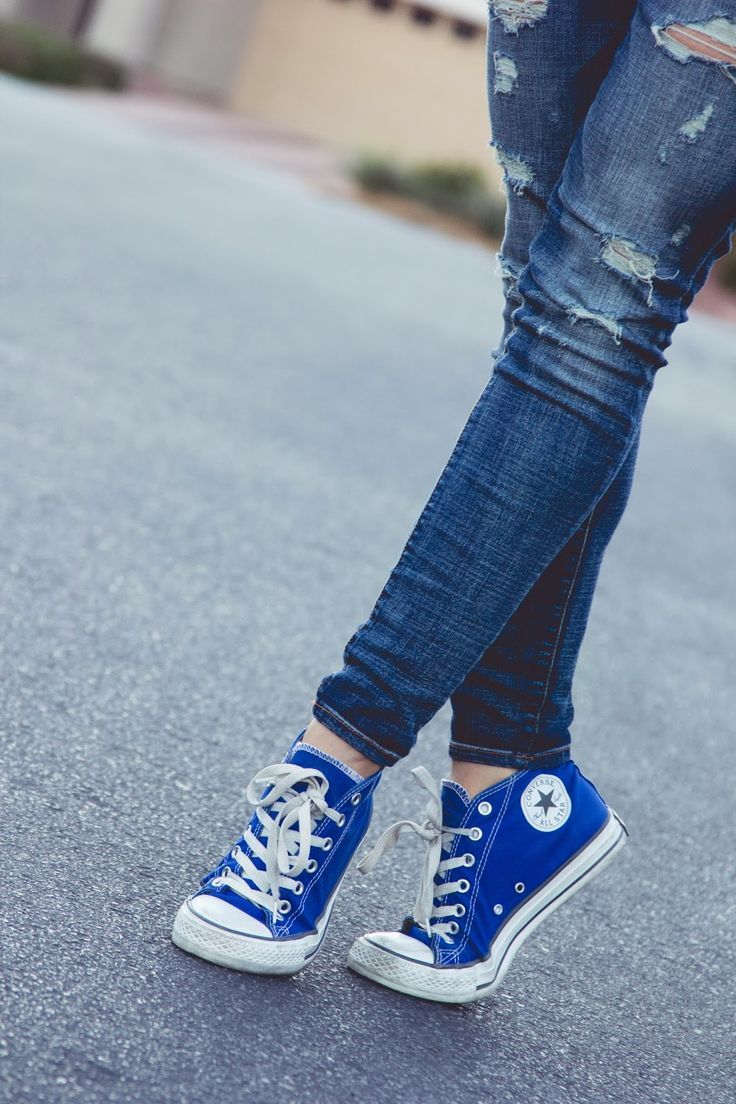 7c9bc791583a Cute Converse sneakers in blue.