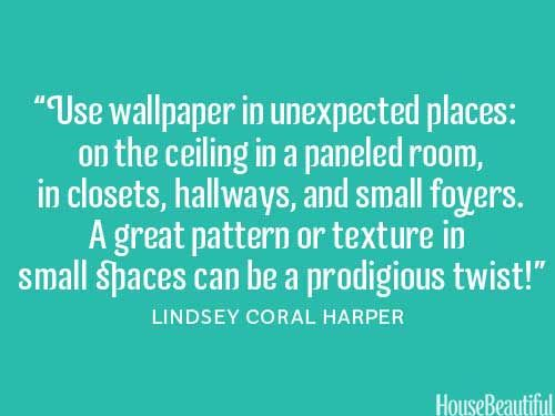 Wall paper in the office ceiling would look awesome! ~ 101 Decorating Secrets from Top Interior Designers  - HouseBeautiful.com