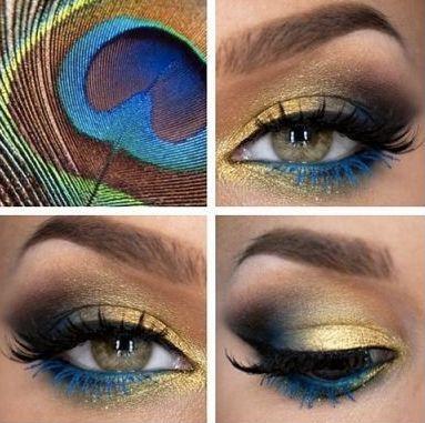 Resultado de imagen de maquillaje pavo real sencillo