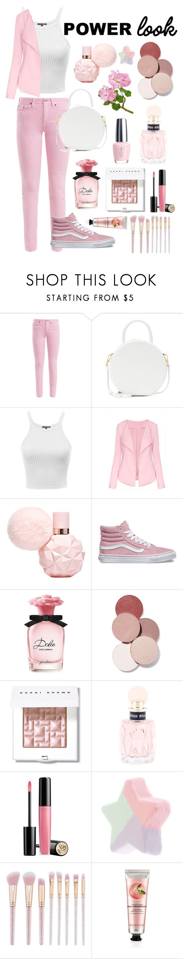 """""""All about pale pink"""" by pugicorns ❤ liked on Polyvore featuring Acne Studios, Mansur Gavriel, WithChic, Vans, Dolce&Gabbana, OPI, LunatiCK Cosmetic Labs, Bobbi Brown Cosmetics, Miu Miu and Lancôme"""