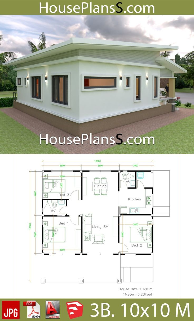 10x10 Bedroom Plans: House Design Plans 10x10 With 3 Bedrooms Full Interior
