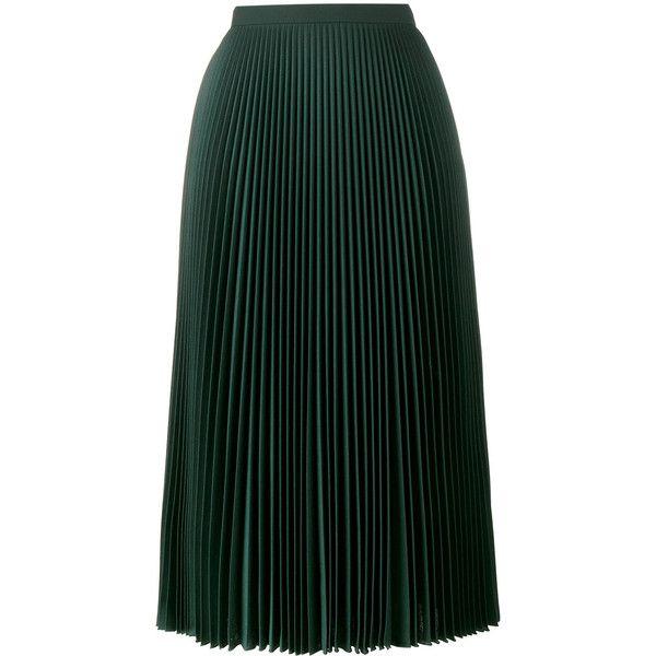 Prada pleated midi skirt (8,005 MYR) ❤ liked on Polyvore featuring skirts, green, mid-calf skirt, high-waist skirt, green skirt, mid length skirts and knee length pleated skirt