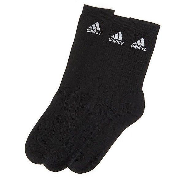adidas 3 Pack Crew Socks (£8) ❤ liked on Polyvore featuring intimates, hosiery, socks, black, crew cut socks, adidas, crew socks, adidas socks and crew length socks