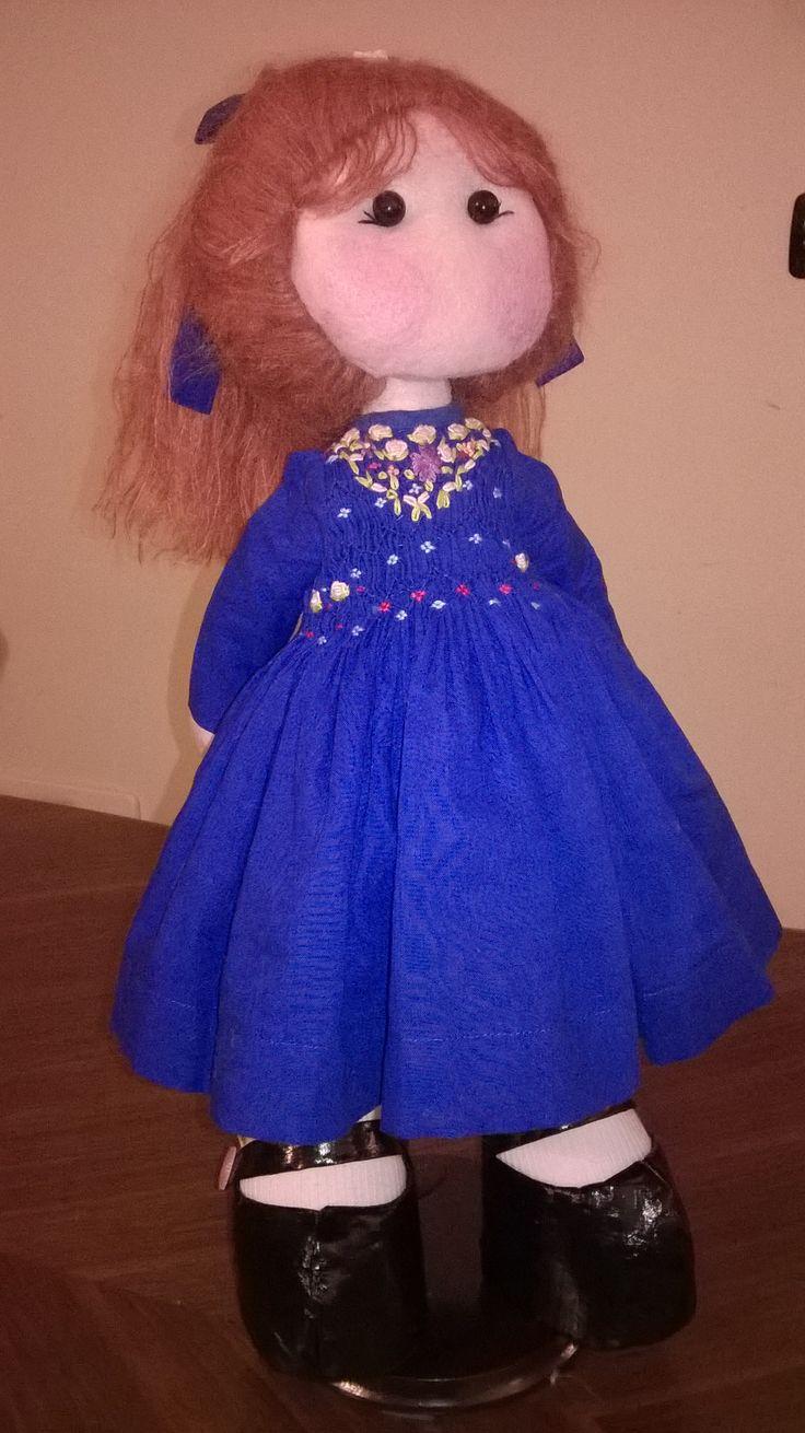 felt doll blue dress
