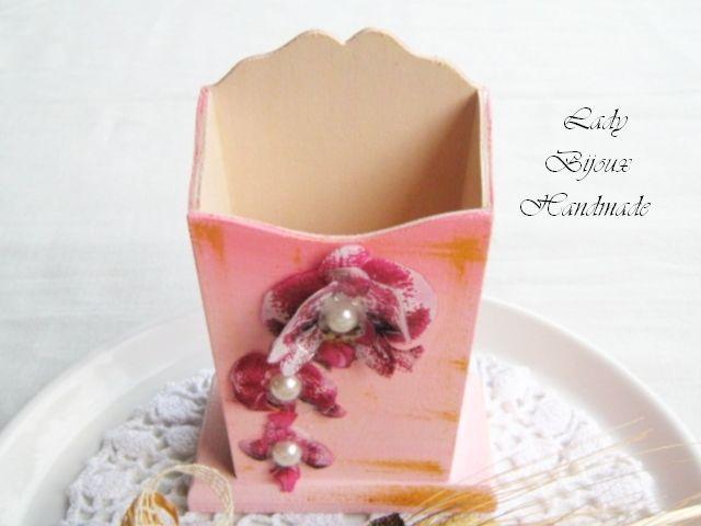 Portamatite, portapenne, da scrivania decorato con Orchidee