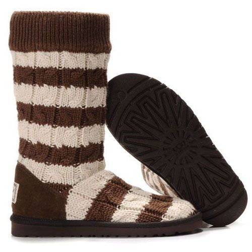 UGG Classic Tall Stripe Cable Knit 5822 Chocolate White   http://cheapugghub.com/classic-ugg-boots-ugg-boots-5822-c-64_75.html