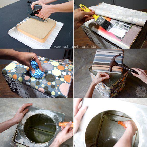 Como fazer um pufe com lata de tinta - pufe estampado feito em casa - faça você mesmo - Passo a Passo com fotos - DIY - tutorial - How to ma...