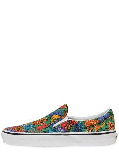 VANS FLORAL PRINTED COTTON SLIP-ON SNEAKERS