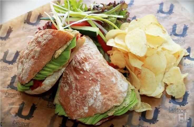 Vegan Evergreen sandwich delight with delicious avocado, home made hummus spread and vegan tomato chutney, @ U Bistrot, Malta.