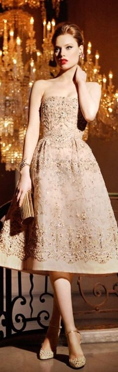Champagne color tea-length cocktail dress