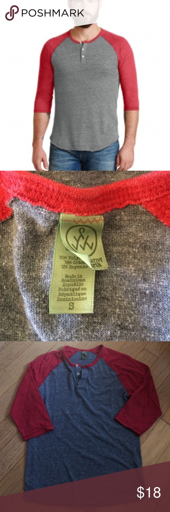 Alternative apparel men's gray and red Henley! Alternative apparel men's gray and red raglan Henley! Size small. Pre loved but in great condition! Super soft. Bundle and save! Alternative Apparel Shirts Tees - Long Sleeve
