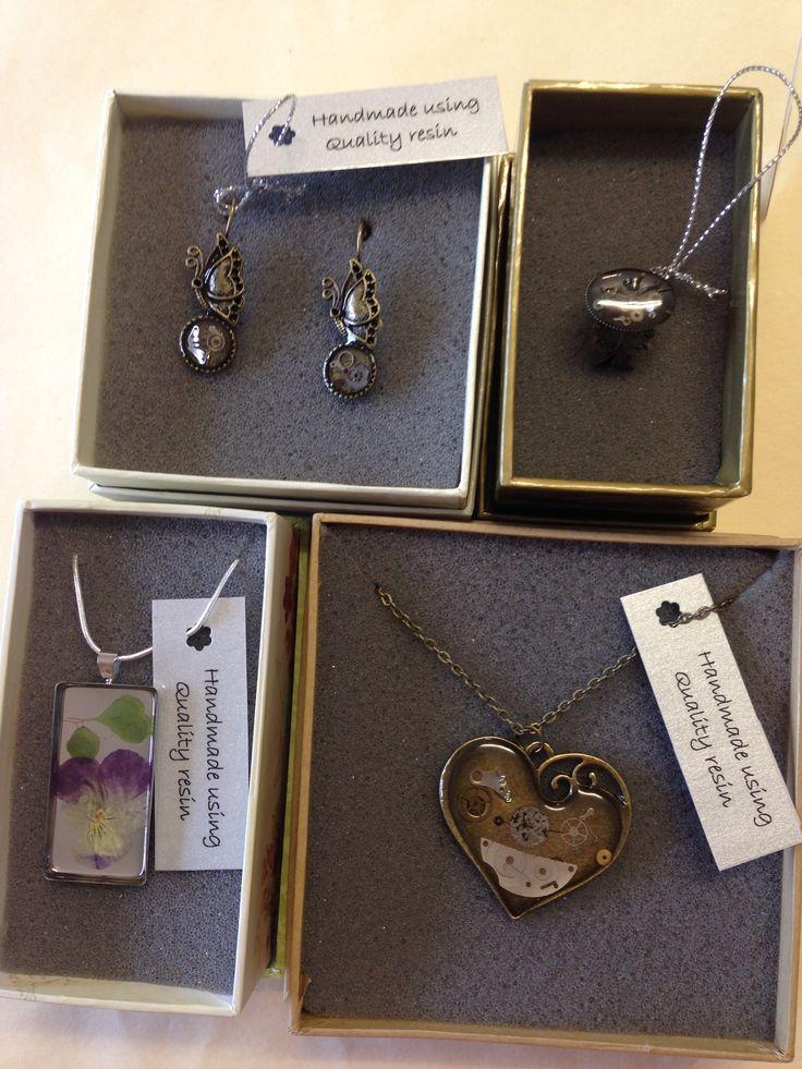 Earrings, ring and pendants