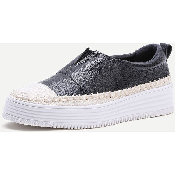 Black And White Woven Detail Slip-On PU Sneakers ($43) ❤ liked on Polyvore featuring shoes, sneakers, black and white platform sneakers, black and white shoes, black and white sneakers, platform slip-on sneakers and black and white slip on sneakers