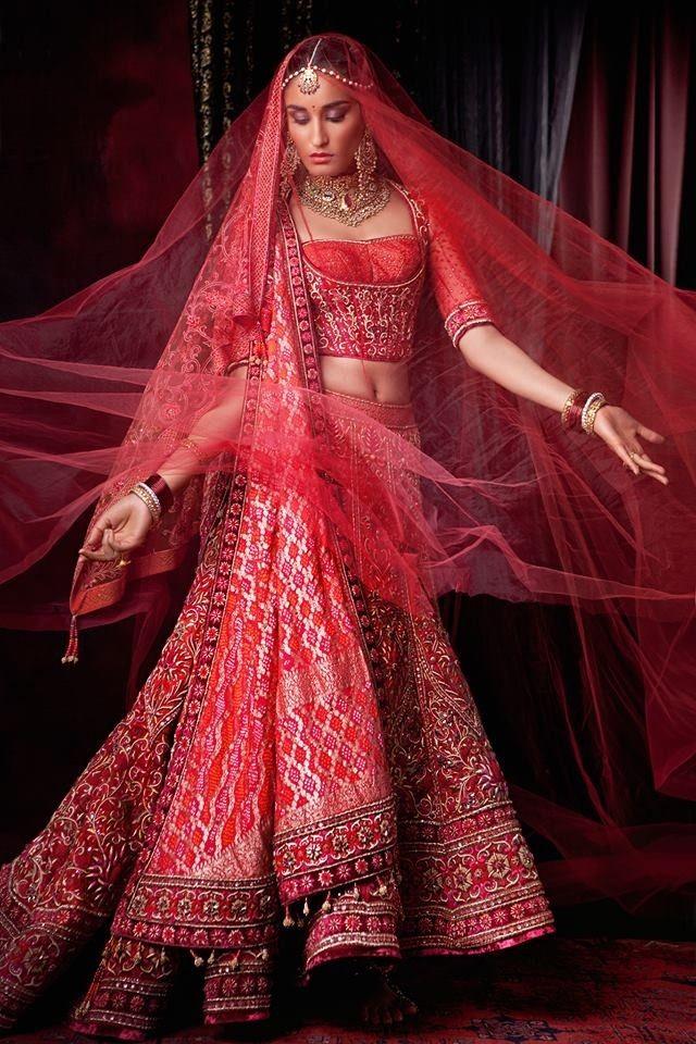Tarun Tahiliani Red Bridal Lengha