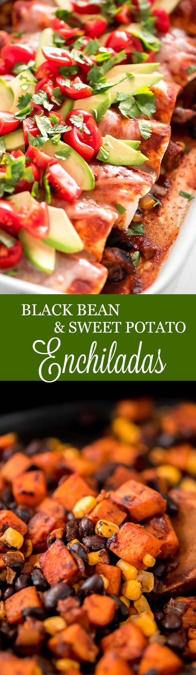 Black Bean and Sweet Potato Enchiladas are a filling, healthy, and inexpensive meatless meal that the whole family will love! #meatlessmonday #mexicanfood #vegetarian #healthyeating