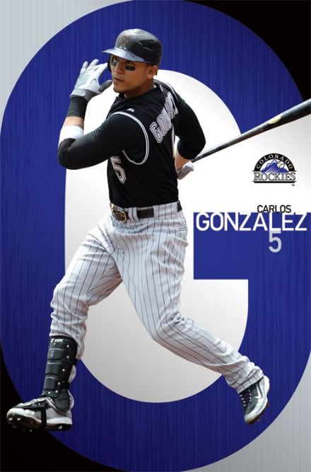 colorado rockies baseball players | Colorado Rockies MLB Baseball Player Carlos Gonzalez Action Poster ...