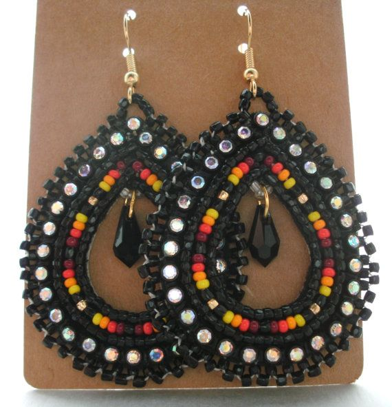 Native American Beaded Teardrop Earrings By Cjbeadwork On Etsy 35 00 Beads Pinterest And