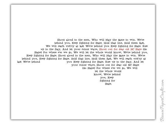 NC State Fight Song Print North Carolina by BrownPaperCrafts