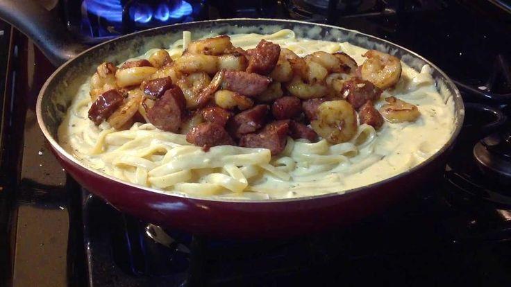 Cajun Shrimp and Sausage Alfredo Fettuccine (Homemade)