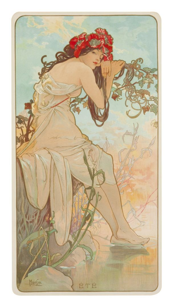 """""""Summer,"""" detail from Four Seasons, Alphonse Mucha (Czechoslovakian, 1860-1939), 1896"""