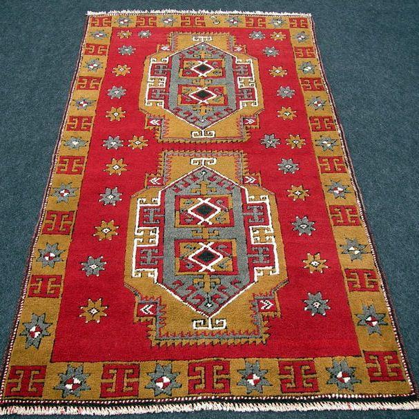 Türkischer Orient Teppich 198 x 106 cm Alter Bergama Rot Old Turkish Carpet Rug