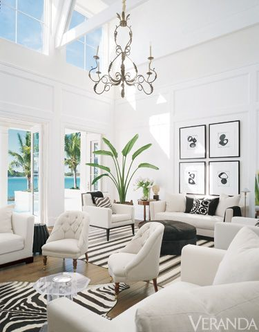 White rooms don't have to be bland: The natural light from the large windows breathes life into this spectacular room.
