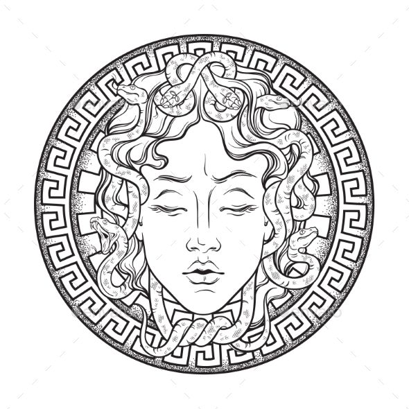 Medusa Gorgon head on a shield hand drawn line art…