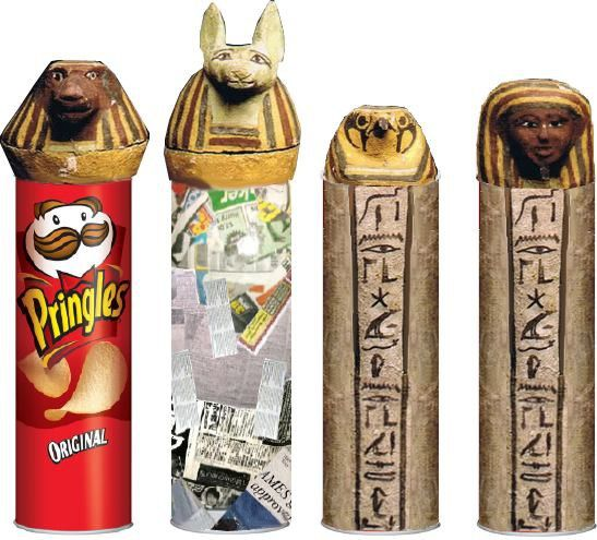 Egyptian Pringle cans