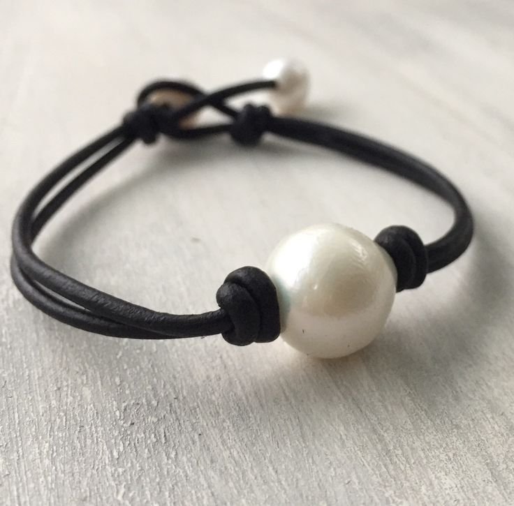 A personal favorite from my Etsy shop https://www.etsy.com/listing/127626891/leather-freshwater-pearl-bracelet-pearl