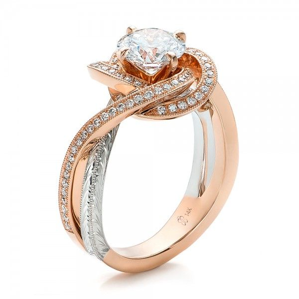 Custom Rose Gold and Platinum Diamond Engagement Ring - 100822 | Joseph Jewelry Seattle Bellevue
