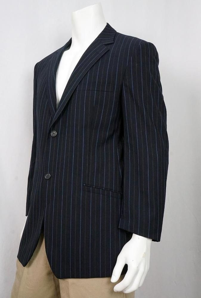 Men Versace Collection Navy Blue Stripe Blazer 100% Wool sz 42 R USA = 52 Italy #VersaceCollection #TwoButton
