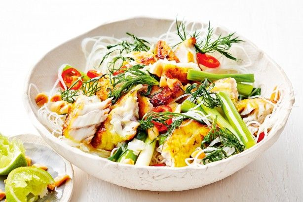 Dill goes perfectly with aromatic marinated fish and the tangy, salty, sweet dressing.