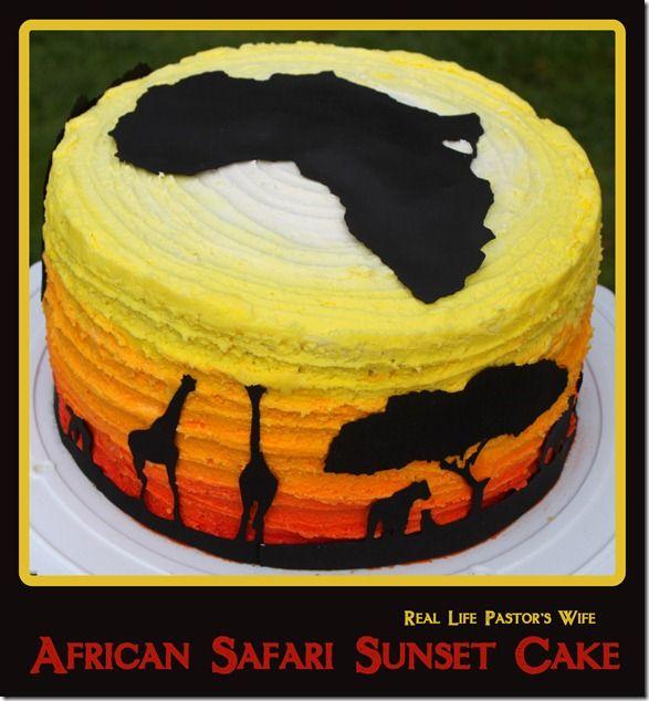 African Safari Sunset Cake. Fondant free!
