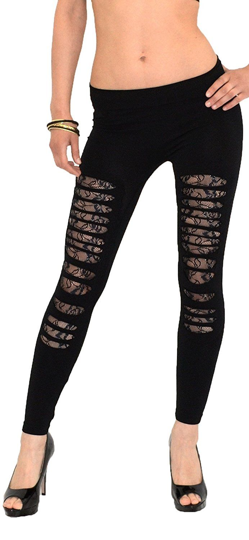 by-tex Damen Leggings Leggins Damen Legings Hose mit Rissen Spitze und Tiger Leo Muster 20 Modelle L56: Amazon.de: Bekleidung