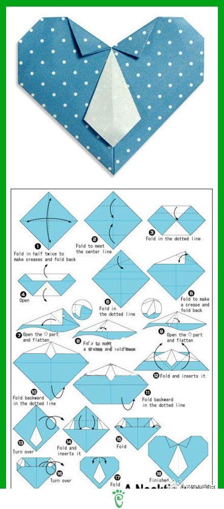 Tarjeta para día del padre - corazón de origami con forma de camisa - manualidades infantiles para el día del padre