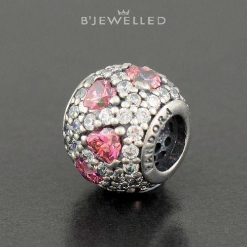 Authentic Genuine Pandora Silver Heart Pink Pave CZ Ball Charm - 791249CZS