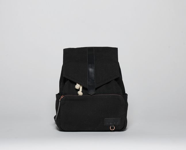 Mini-Ransel | Black (waxed canvas) kids backpack, scandinavian style from Itskaos.com