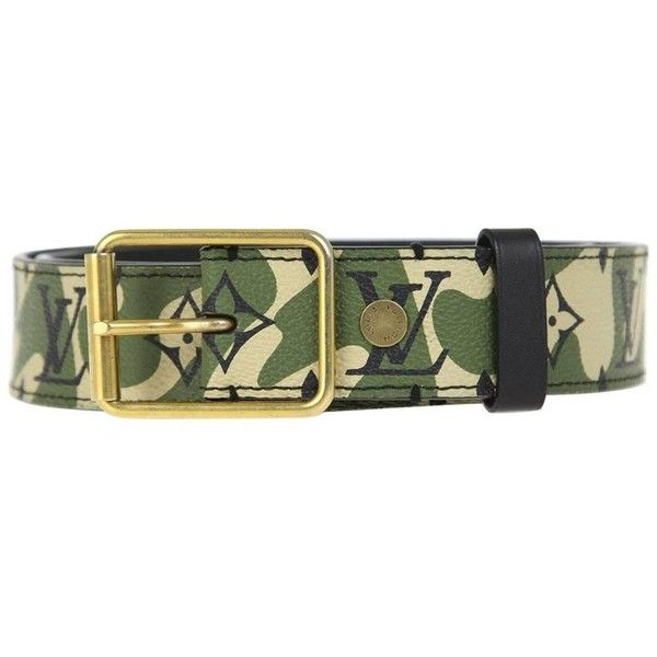Preowned 2010s Louis Vuitton Camouflage Belt ($2,082) ❤ liked on Polyvore featuring accessories, belts, grey, golden belt, buckle belt, louis vuitton belt and louis vuitton