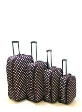 Strut your stuff with this striking luggage range. 'Essential' purple polka dot cases from £25 (BHS)
