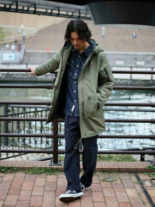 【WEBSTORE限定】モッズコート・カーキ/MEDIUM    デニムワークシャツ・ダークインディ