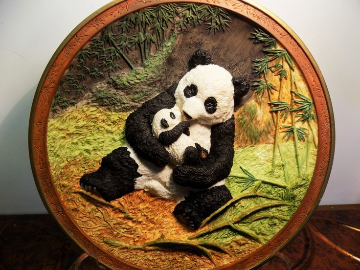 """A BRADFORD EXCHANGE """"Rock A Bye"""" Panda Bear Hugs Artist Will Nelson 3-D Plate by IZZYSCollectibles on Etsy"""