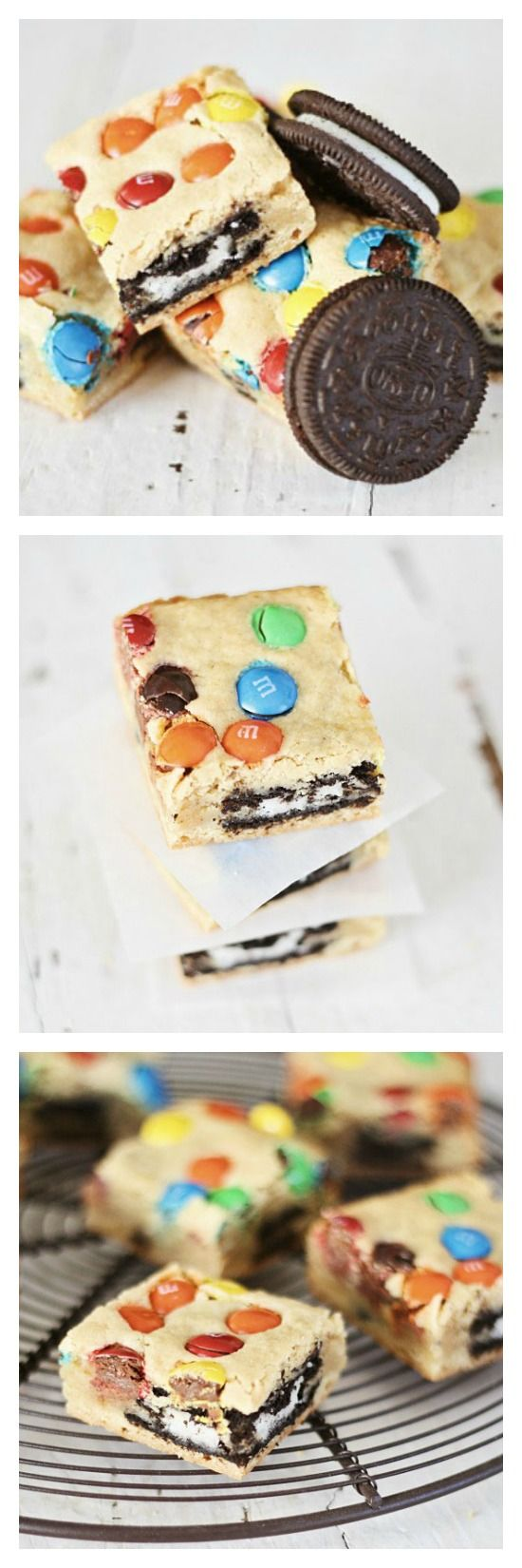 Loaded M&M's and Oreo Cookies Bars, crazy addictive with all your favorites in one bite. Make them today!