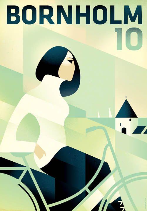 Mads Berg - travel poster, Danish island Bornholm.