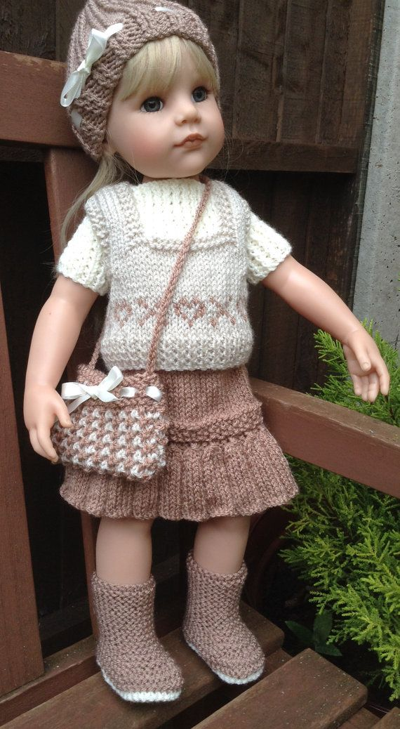 Beige tank top 6 piece set for 18inch doll by jacknitss on Etsy, £9.99