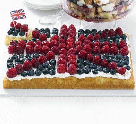 A fail-safe sponge that's easier than it looks - almonds and yoghurt keep it moist while its fruity decoration is suitably patriotic