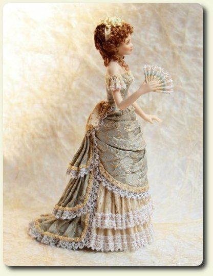 Porcelain doll, hand painted and dressed miniature doll by CDHM and IGMA Artisan Elisa Fenoglio
